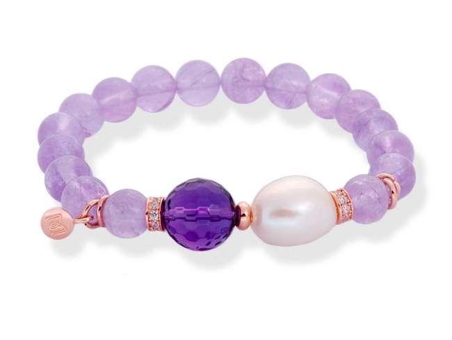 Bracelet CHAKRA Purple in rose silver de Marina Garcia Joyas en plata Bracelet in 18kt rose gold plated 925 sterling silver with white cubic zirconia, freshwater cultured pearl and faceted amethyst. (wrist size: 18 cm.)