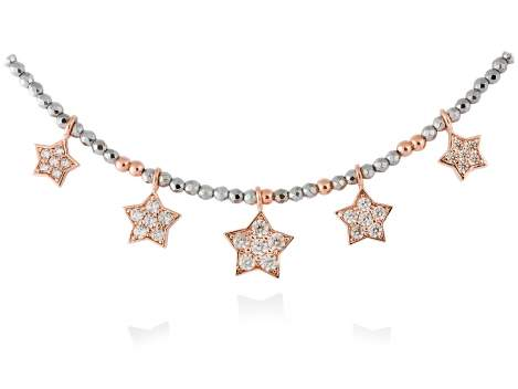 Gargantilla STAR Blanco en plata rosa