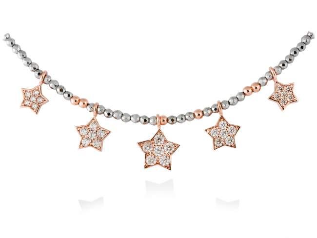 Gargantilla STAR Blanco en plata rosa de Marina Garcia Joyas en plata Gargantilla de plata de primera ley (925) chapada en oro rosa de 18kt, circonita blanca y hematites. (largo: 40+3 cm.)
