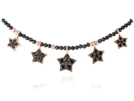 Gargantilla STAR Negro en plata rosa