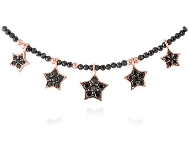 Gargantilla STAR Negro en plata rosa de Marina Garcia Joyas en plata Gargantilla de plata de primera ley (925) chapada en oro rosa de 18kt, espinela negra sintética y espinela negra facetada. (largo: 40+3 cm.)