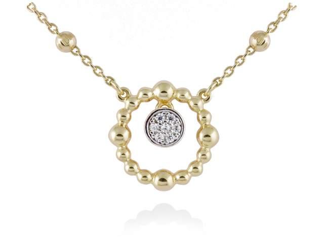Gargantilla GLOBE Blanco en plata dorada de Marina Garcia Joyas en plata Gargantilla de plata de primera ley (925) chapada en oro amarillo de 18kt y circonita blanca. (largo: 39+3 cm.)