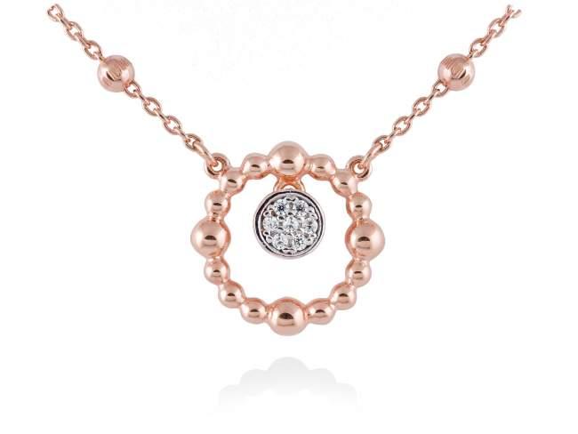 Gargantilla GLOBE Blanco en plata rosa de Marina Garcia Joyas en plata Gargantilla de plata de primera ley (925) chapada en oro rosa de 18kt y circonita blanca. (largo: 39+3 cm.)