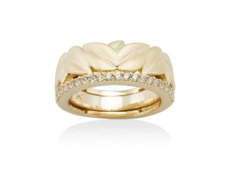 Anillo LEAVES Blanco en plata dorada