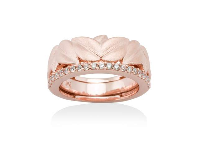 Ring LEAVES White in rose silver de Marina Garcia Joyas en plata Ring in 18kt rose gold plated 925 sterling silver and white cubic zirconia.