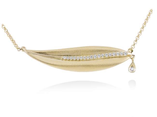 Gargantilla LEAVES Blanco en plata dorada de Marina Garcia Joyas en plata Gargantilla de plata de primera ley (925) chapada en oro amarillo de 18kt y circonita blanca. (largo: 40+5 cm.)