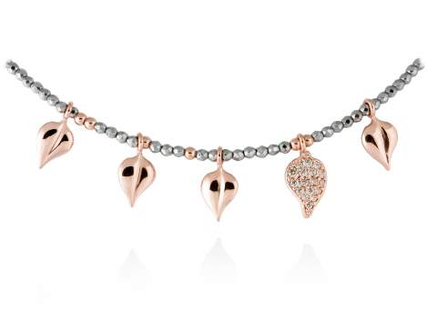 Necklace LEAVES Cognac in rose silver