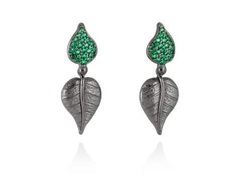 Earrings LEAVES Green in black silver