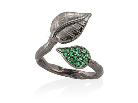 Ring LEAVES Green in black silver