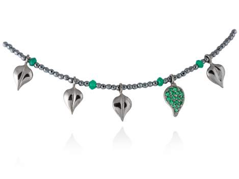 Necklace LEAVES Green in black silver
