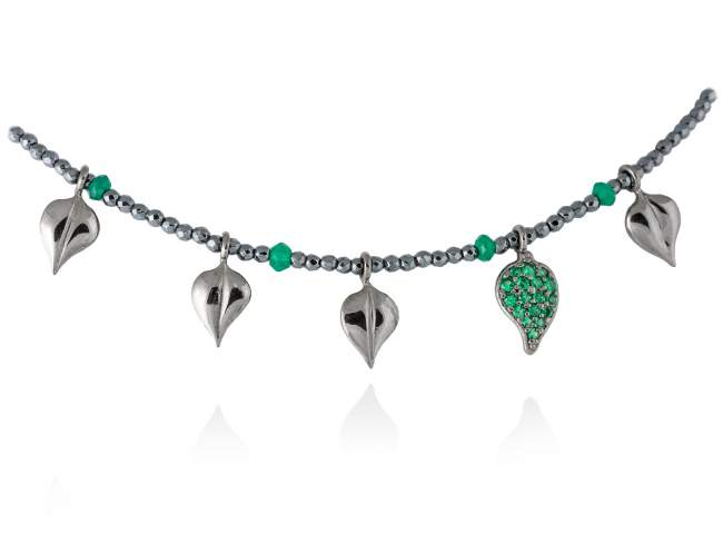 Necklace LEAVES Green in black silver de Marina Garcia Joyas en plata Necklace in ruthenium plated 925 sterling silver, synthetic green spinel and hematite. (length: 40+3 cm.)