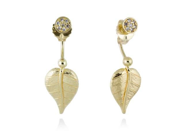 Earrings LEAVES White in golden silver de Marina Garcia Joyas en plata Earrings in 18kt yellow gold plated 925 sterling silver and white cubic zirconia. (length: 3,3 cm.)