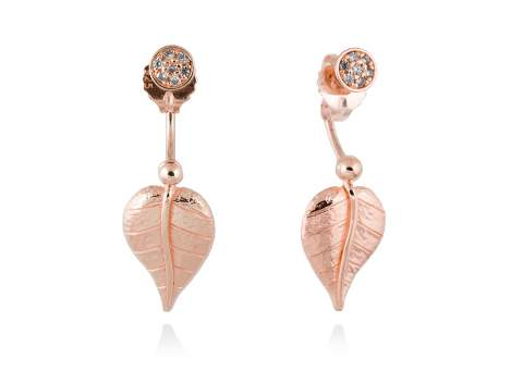 Earrings LEAVES White in rose silver