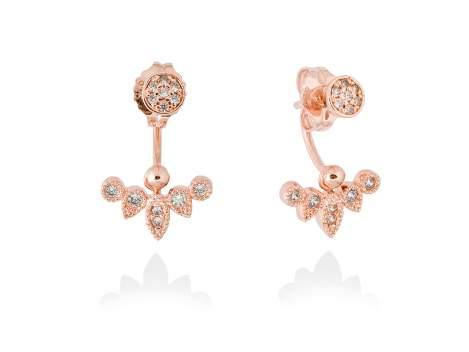 Earrings LEAVES White in rose silver