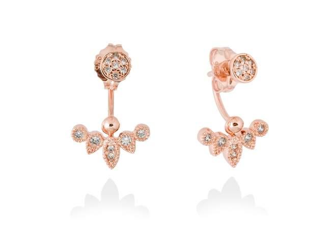 Earrings LEAVES White in rose silver de Marina Garcia Joyas en plata Earrings in 18kt rose gold plated 925 sterling silver and white cubic zirconia. (length: 2 cm.)