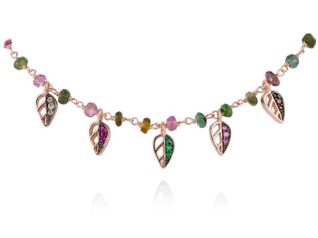 Necklace LEAVES Pink in rose silver de Marina Garcia Joyas en plata Necklace in 18kt rose gold plated 925 sterling silver, multicolor cubic zirconia and faceted pink tourmaline. (length: 42+3 cm.)