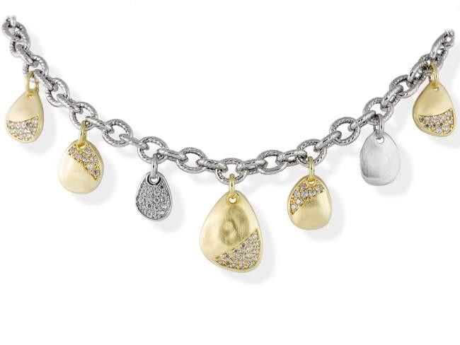 Gargantilla HERITAGE Blanco en plata dorada de Marina Garcia Joyas en plata Gargantilla de plata de primera ley (925) con baño de rodio y chapado en oro amarillo de 18kt y circonita blanca. (largo: 45 cm.)