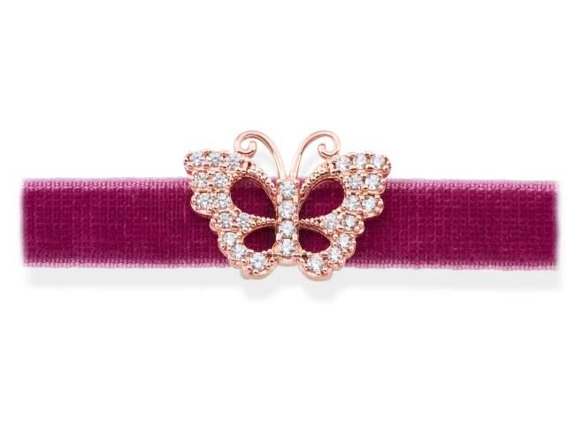 Gargantilla VELVET Malva en plata rosa de Marina Garcia Joyas en plata Gargantilla de plata de primera ley (925) chapada en oro rosa de 18kt y circonita blanca. (largo: 33,5 +3 cm.)