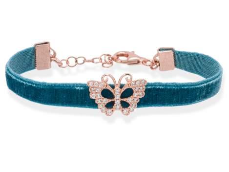 Pulsera VELVET Azul en plata rosa