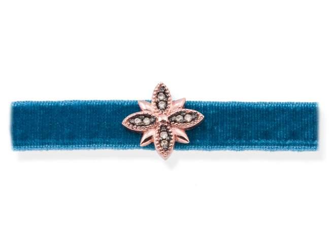 Gargantilla VELVET Azul en plata rosa de Marina Garcia Joyas en plata Gargantilla de plata de primera ley (925) chapada en oro rosa de 18kt y circonita coñac. (largo: 33,5+3 cm.)