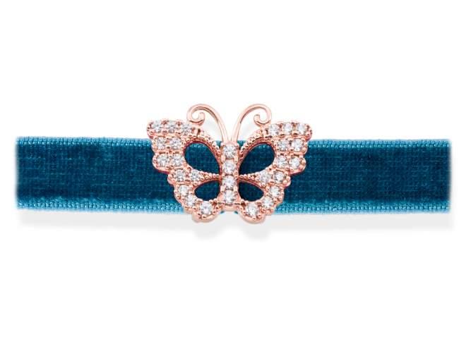 Gargantilla VELVET Azul en plata rosa de Marina Garcia Joyas en plata Gargantilla de plata de primera ley (925) chapada en oro rosa de 18kt y circonita blanca. (largo: 33,5 +3 cm.)