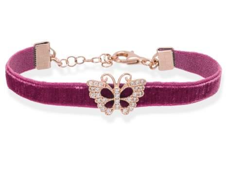 Pulsera VELVET Malva en plata rosa