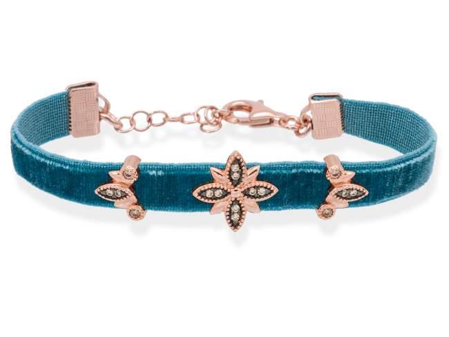 Pulsera VELVET Azul en plata rosa de Marina Garcia Joyas en plata Pulsera de plata de primera ley (925) chapada en oro rosa de 18kt y circonita coñac. (medida de muñeca: 15,5+3 cm.)
