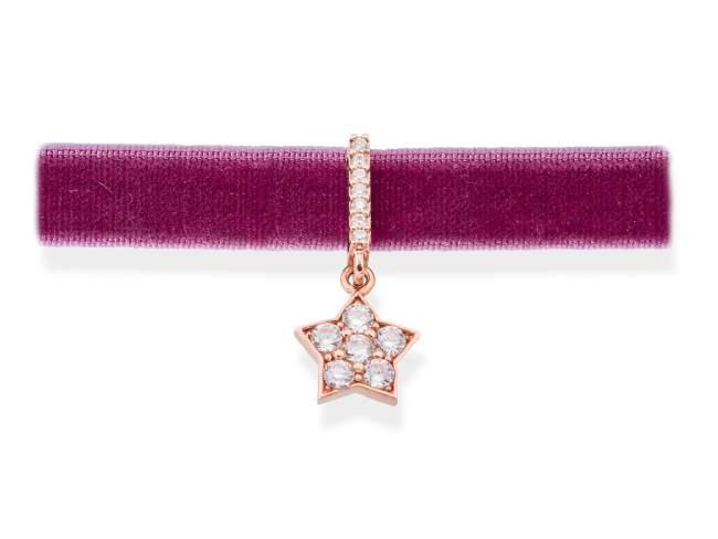 Gargantilla VELVET Blanco en plata rosa de Marina Garcia Joyas en plata Gargantilla de plata de primera ley (925) chapada en oro rosa de 18kt y circonita blanca. (largo: 33,5 +3 cm.)