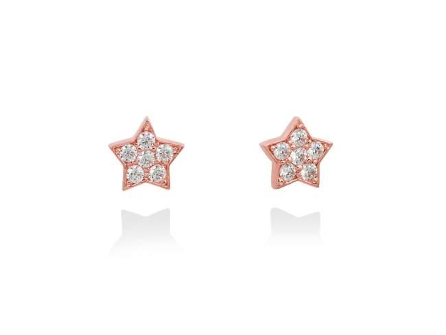 Pendientes STAR Blanco en plata rosa de Marina Garcia Joyas en plata Pendientes de plata de primera ley (925) chapada en oro rosa de 18kt y circonita blanca. (tamaño: 0,9 cm.)