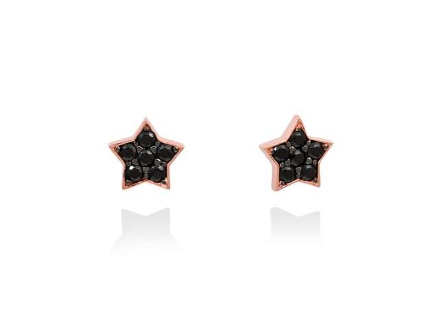 Pendientes STAR Negro en plata rosa de Marina Garcia Joyas en plata Pendientes de plata de primera ley (925) chapada en oro rosa de 18kt y espinela negra sintética. (tamaño: 0,9 cm.)