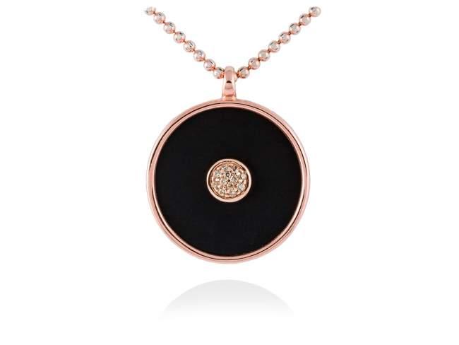Colgante MOON Negro en plata rosa de Marina Garcia Joyas en plata Colgante de plata de primera ley (925) chapada en oro rosa de 18kt, circonita blanca y ónix negro. (diametro exterior: 2,8 cm.) (Cadena no incluida)