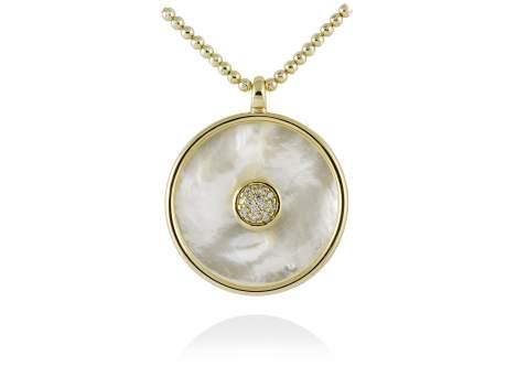Colgante MOON Blanco en plata dorada