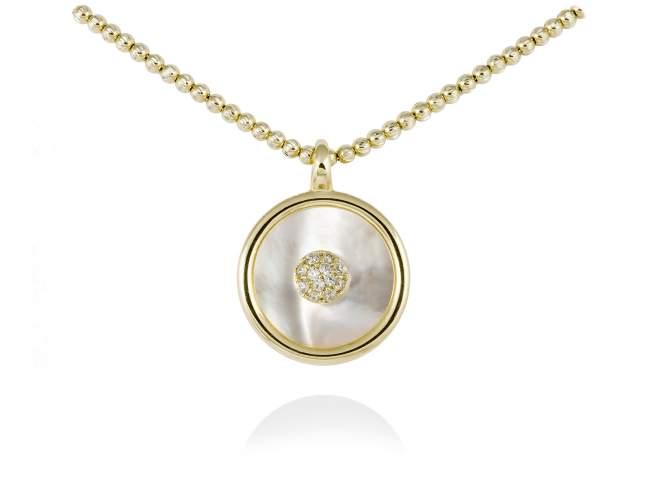 Gargantilla MOON Blanco en plata dorada de Marina Garcia Joyas en plata Gargantilla de plata de primera ley (925) chapada en oro amarillo de 18kt, circonita blanca y nacar negro tallado en placa. (Largo de gargantilla: 42+3 cm. Tamaño del colgante: 2 cm.)