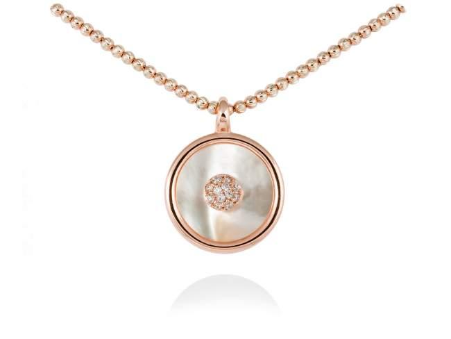 Gargantilla MOON Blanco en plata rosa de Marina Garcia Joyas en plata Gargantilla de plata de primera ley (925) chapada en oro rosa de 18kt, circonita blanca y nacar negro tallado en placa. (Largo de gargantilla: 42+3 cm. Tamaño del colgante: 2 cm.)