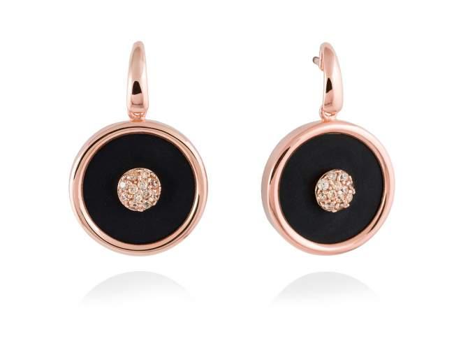 Pendientes MOON Negro en plata rosa de Marina Garcia Joyas en plata Pendientes de plata de primera ley (925) chapada en oro rosa de 18kt, circonita blanca y ónix negro. (largo: 2,9 cm.)