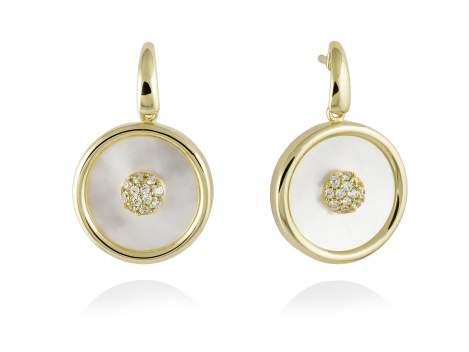 Pendientes MOON Blanco en plata dorada