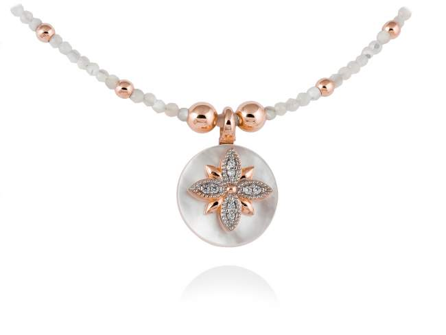 Necklace MOON White in rose silver de Marina Garcia Joyas en plata Necklace in 18kt rose gold plated 925 sterling silver, white cubic zirconia and white mother-of-pearl bead shape. (Length of necklace: XX cm. Size of pendant: 1,6 cm.)