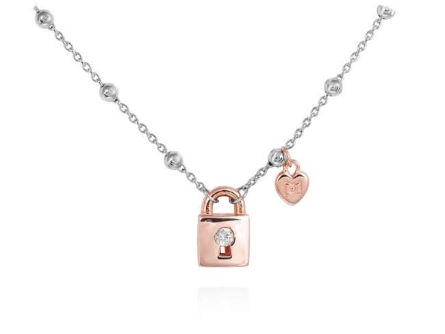 Gargantilla FREE en plata rosa de Marina Garcia Joyas en plata Gargantilla de plata de primera ley (925) con baño de rodio y chapado en oro rosa de 18kt y circonita blanca. (largo: 42+3 cm.)