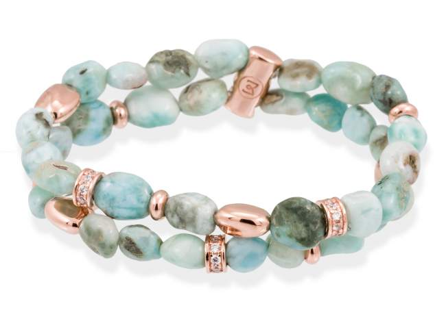 Bracelet SAMSARA Green in rose silver de Marina Garcia Joyas en plata Bracelet in 18kt rose gold plated 925 sterling silver with white cubic zirconia and larimar. (wrist size: 17,5  cm.)