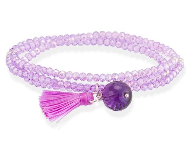 Bracelet ZEN Purple in silver de Marina Garcia Joyas en plata<p>Bracelet in rhodium plated 925 sterling silver with faceted purple Strass glass and faceted amethyst. (length: 51 cm.)</p>