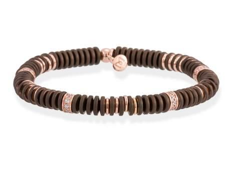 Bracelet MATT Brown in rose silver