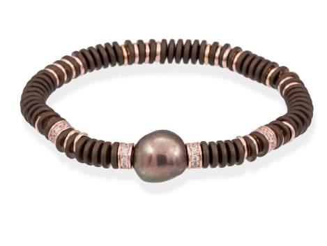 Pulsera MATT Perla en plata rosa