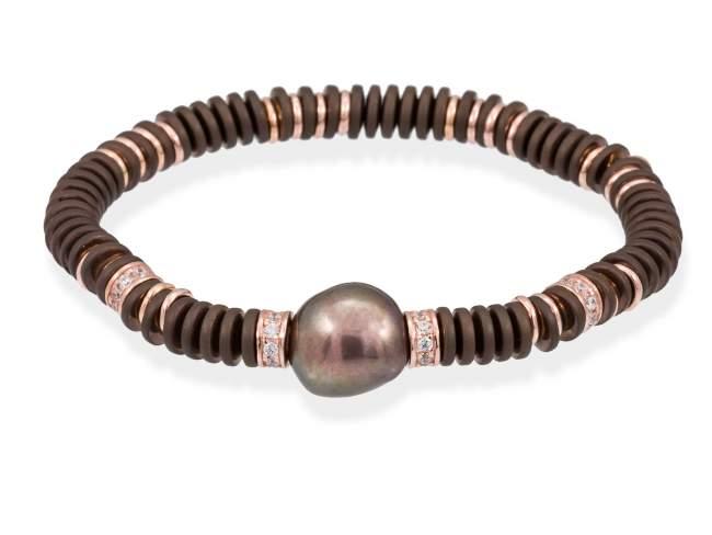 Armband MATT Perle in silber rose vergoldet de Marina Garcia Joyas en plata Armband in Silber (925) vergoldet in 18 Karat  Rosegold mit Zirkonia weiß, braun beschichtet Hämatit und Braune Süswasser-Zuchtperlen. (Handgelenkgröße: 17,5 cm)