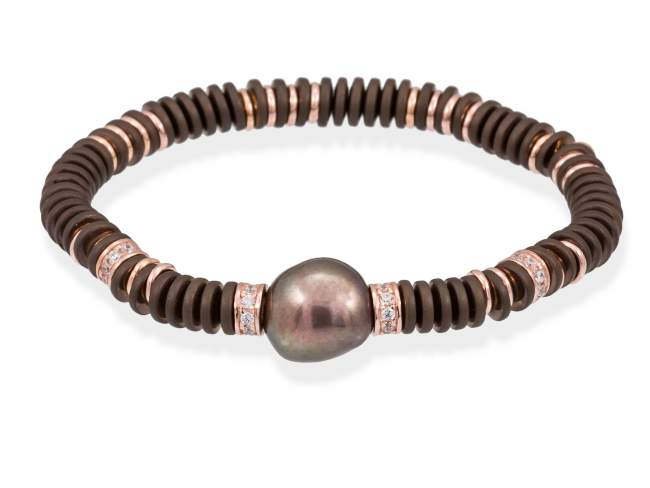 Bracelet MATT Pearl in rose silver de Marina Garcia Joyas en plata Bracelet in 18kt rose gold plated 925 sterling silver with white cubic zirconia, brown coated hematite and chocolate freshwater cultured pearl. (wrist size: 17,5 cm.)