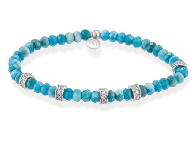 Bracelet NAYA Blue in silver de Marina Garcia Joyas en plata<p>Bracelet in rhodium plated 925 sterling silver, white cubic zirconia and apatite. (wrist size: 16,5 cm.)</p>