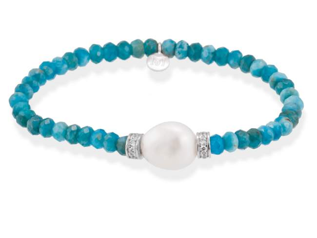 Bracelet NAYA Blue in silver de Marina Garcia Joyas en plata<p>Bracelet in rhodium plated 925 sterling silver, white cubic zirconia, apatite and freshwater cultured pearl. (wrist size: 16,5 cm.)</p>