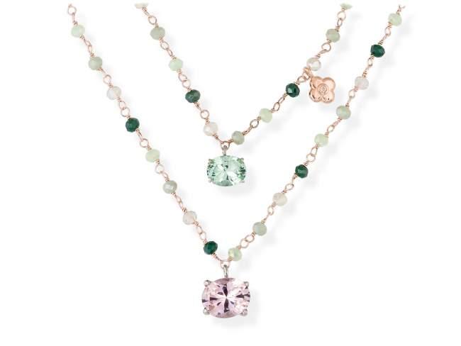 Gargantilla PASTEL Verde en plata rosa de Marina Garcia Joyas en plata