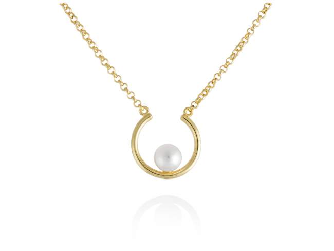 Gargantilla PERLE en plata dorada de Marina Garcia Joyas en plata<p>Gargantilla de plata de primera ley (925) chapada en oro amarillo de 18kt y perla cultivada. (Largo de gargantilla: 41+3 cm. Tamaño del colgante: 1,5 cm.)</p>