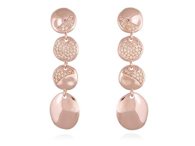 Pendientes BARI Coñac en plata rosa de Marina Garcia Joyas en plata<p>Pendientes de plata de primera ley (925) chapada en oro rosa de 18kt y circonita coñac. (tamaño: 6 cm.)</p>