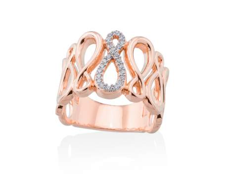 Anillo EIGHT Blanco en plata rosa